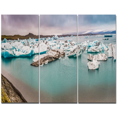 Designart Lake Full Of Icebergs Panorama LandscapeTriptych Canvas Art Print