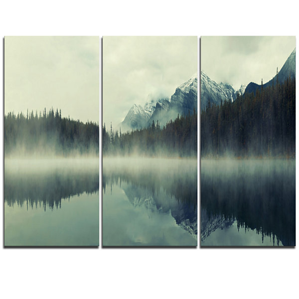 Designart Lake Herbert In Foggy Morning Modern Seascape Triptych Canvas Artwork