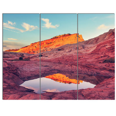 Designart Lake In National Monument Park OversizedLandscape Canvas Art - 3 Panels