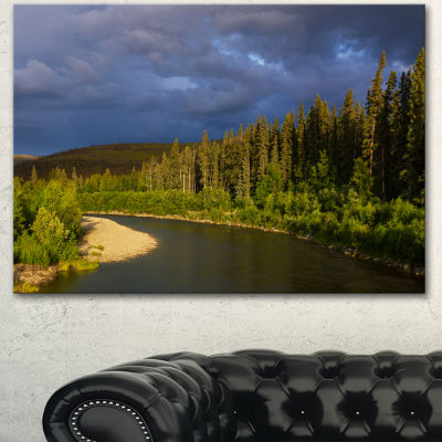 Designart Lake On Alaska Under Clouds Landscape Canvas Art Print