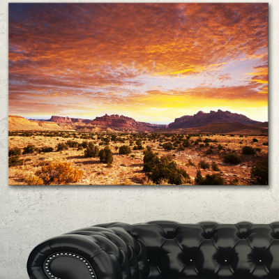 Designart Land With Thick Clouds At Sunset AfricanLandscape Canvas Art Print