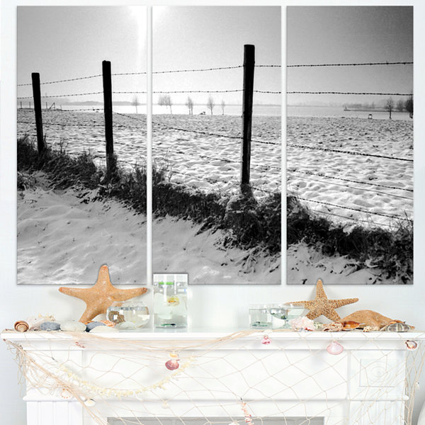 Design Art Landscape In Snow With Fence OversizedBeach Triptych Canvas Artwork