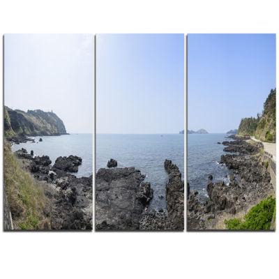 Designart Landscape Of Olle Walking Path OversizedBeach Triptych Canvas Artwork