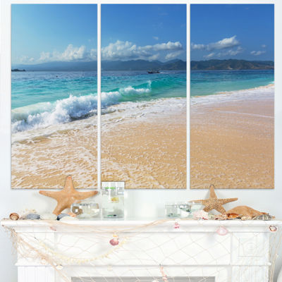 Designart Large Blue Beach In Gili Island Large Seashore Triptych Canvas Print