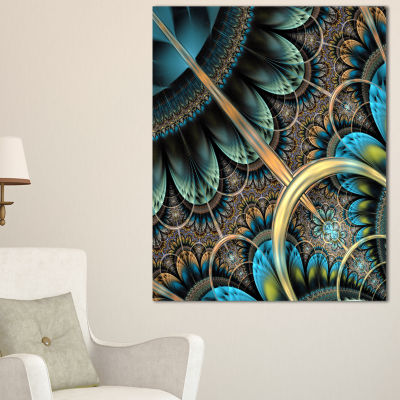Designart Large Blue Brown Fractal Floral PatternFloral Canvas Art Print