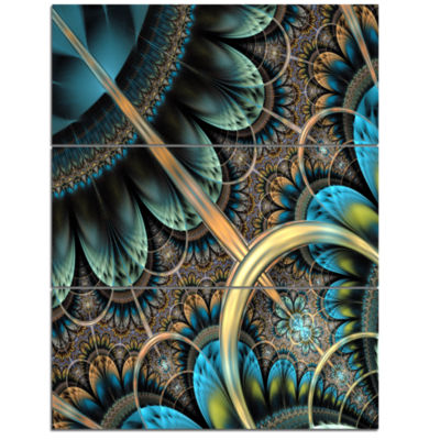 Designart Large Blue Brown Fractal Floral PatternFloral Triptych Canvas Art Print