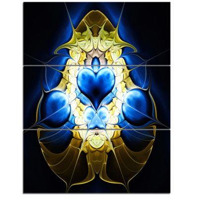 Designart Large Blue Gold Symmetrical Fractal Heart Abstract Wall Art Triptych Canvas