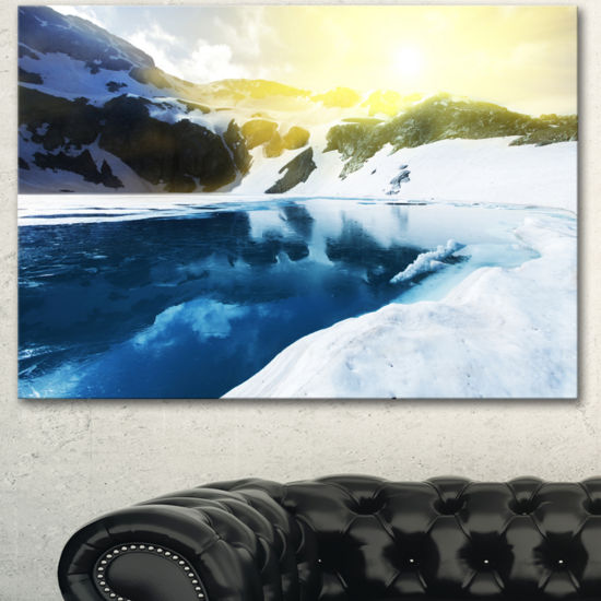 Designart Large Blue High Mountains Lake LandscapeCanvas Art Print