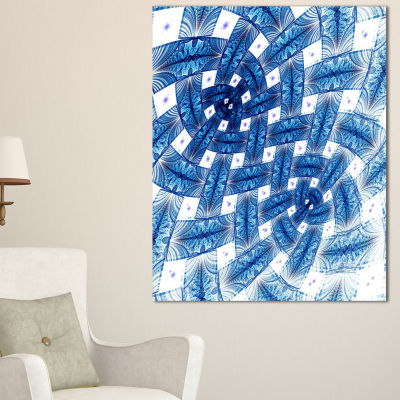 Designart Large Blue Symmetrical Flower Design Floral Canvas Art Print