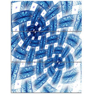 Designart Large Blue Symmetrical Flower Design Floral Triptych Canvas Art Print