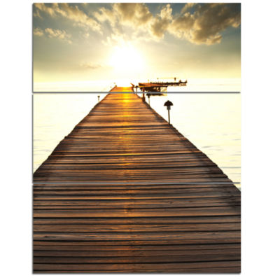 Designart Large Boardwalk Glowing In Sunlight Bridge Triptych Canvas Art Print