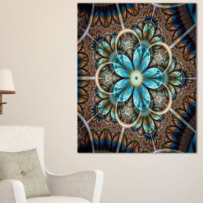 Designart Large Brown Blue Fractal Flower Floral Canvas Art Print