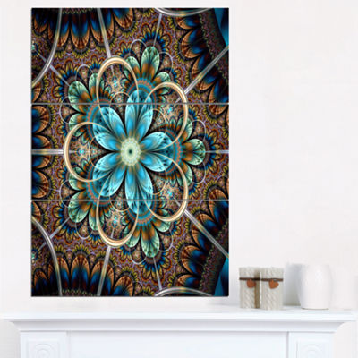 Designart Large Brown Blue Fractal Flower FloralTriptych Canvas Art Print