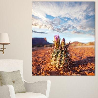 Designart Large Cactus Under Cloudy Sky Floral Canvas Art Print - 3 Panels