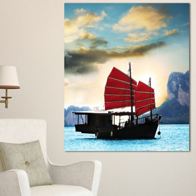 Designart Large Chinese Sailing Ship Seashore Canvas Art Print