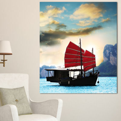 Designart Large Chinese Sailing Ship Seashore Canvas Art Print
