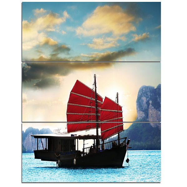 Designart Large Chinese Sailing Ship Seashore Canvas Art Print - 3 Panels