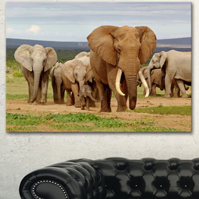 Designart Large Elephant Herd In Africa African Canvas Art Print - 3 Panels