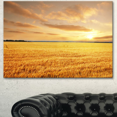 Designart Large Field Under Cloudy Sky Extra LargeLandscape Canvas Art