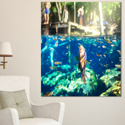 Designart Large Fish In Ik Kil Cenote Mexico Landscape Wall Art On Canvas - 3 Panels