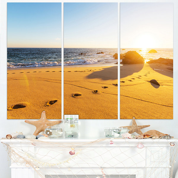 Designart Large Footprints On Beach Sand Modern Beach Triptych Canvas Art Print