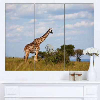 Designart Large Giraffe In Savannah Landscape Artwork Canvas - 3 Panels