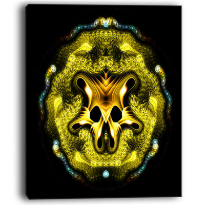 Designart Large Gold Symmetrical Fractal Heart Abstract Art On Canvas