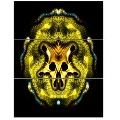 Designart Large Gold Symmetrical Fractal Heart Abstract Art On Triptych Canvas