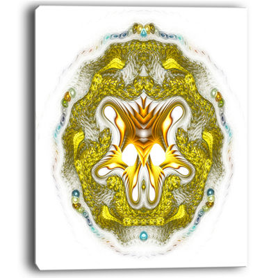 Designart Large Golden Symmetrical Fractal HeartAbstract Art On Canvas