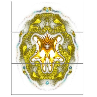 Designart Large Golden Symmetrical Fractal HeartAbstract Art On Triptych Canvas