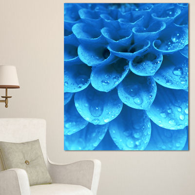 Designart Large Light Blue Flower And Petals Floral Canvas Art Print