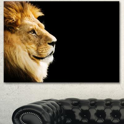 Designart Large Lion Portrait On Black African Canvas Art Print