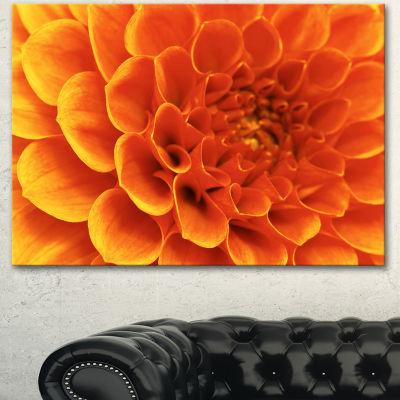 Designart Large Orange Flower And Petals Floral Canvas Art Print - 3 Panels