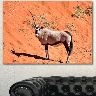 Designart Large Oryx In Bright Namib Desert AnimalCanvas Art Print - 3 Panels