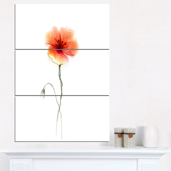 Design Art Large Pink And Red Poppy Flower Large Flower Triptych Canvas Wall Art