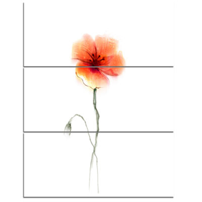 Designart Large Pink And Red Poppy Flower Large Flower Triptych Canvas Wall Art