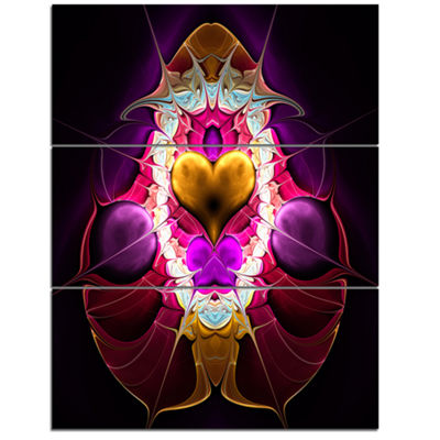 Designart Large Pink Symmetrical Fractal Heart Abstract Art On Triptych Canvas