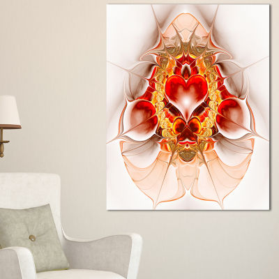 Designart Large Red Symmetrical Fractal Heart Abstract Art On Canvas