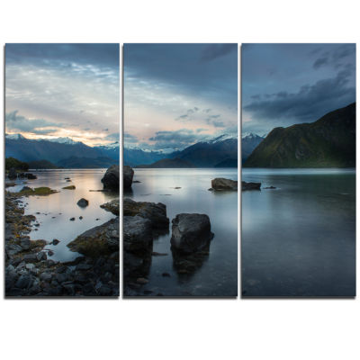 Designart Large Rocks And Distant Cloudy MountainsLandscape Triptych Canvas Art Print