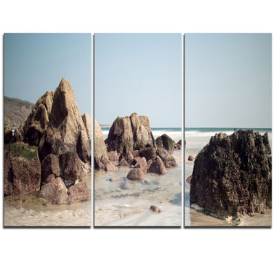 Designart Large Rocks At Coast Panorama Extra Large Seashore Triptych Canvas Art