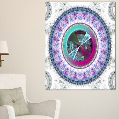 Designart Large Rounded Symmetrical Flower Blue Abstract Wall Art Canvas