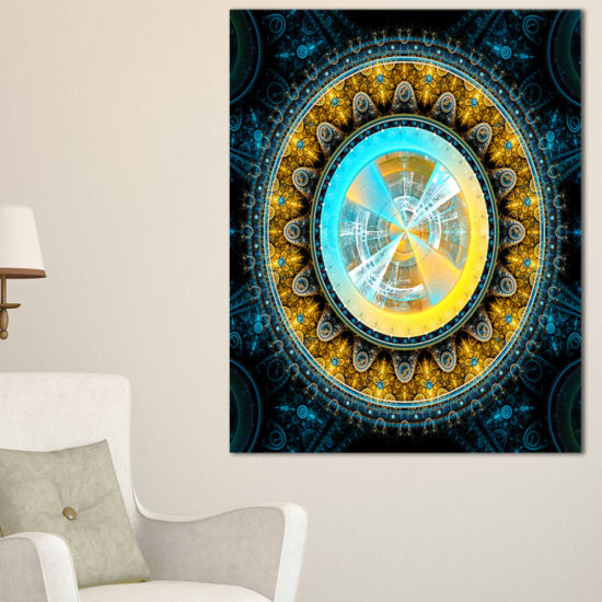 Designart Large Rounded Symmetrical Flower YellowAbstract Wall Art Canvas