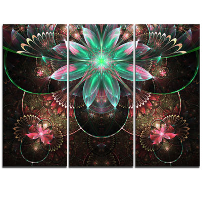 Designart Large Star Flower Fractal Pattern LargeFloral Wall Art Triptych Canvas