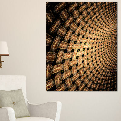 Designart Large Symmetrical Brown Flower Floral Canvas Art Print