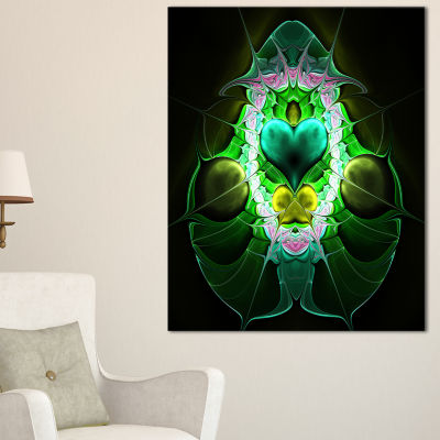 Designart Large Symmetrical Fractal Heart Green Abstract Art On Canvas