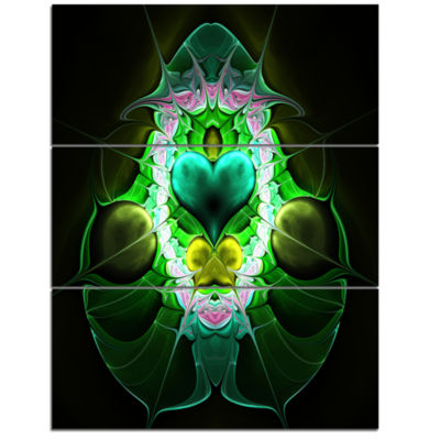 Designart Large Symmetrical Fractal Heart Green Abstract Art On Triptych Canvas