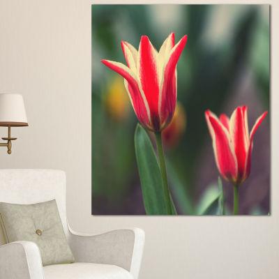 Designart Large Tulips On Green Background Large Flower Canvas Art Print - 3 Panels