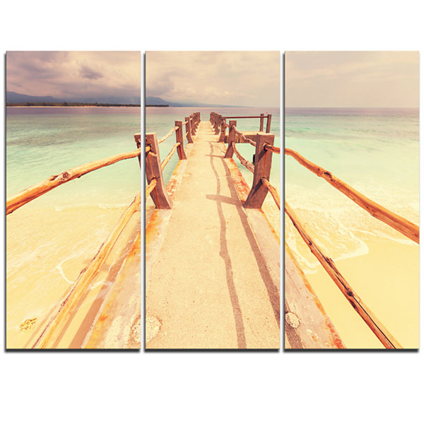 Designart Large Wooden Pier At Gili Island Sea Bridge Triptych Canvas Art Print