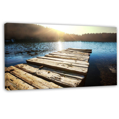 Designart Large Wooden Pier Into The Lake SeashoreCanvas Art Print