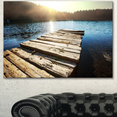 Designart Large Wooden Pier Into The Lake SeashoreCanvas Art Print - 3 Panels